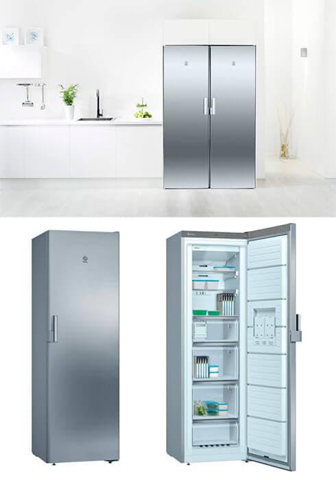 Congelador premium vertical Balay de Acero Inoxidable NoFrost A++