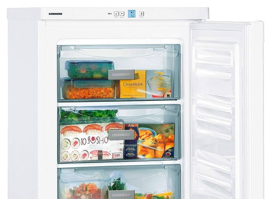 Detalle del interior del congelador vertical pequeño de la marca Liebherr