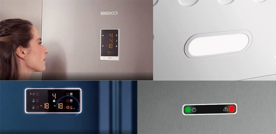 Dispositivos de ayuda para congeladores, como alarmas, luz interior