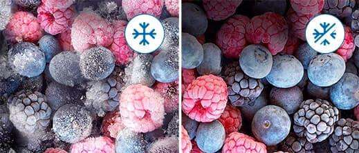 Los alimentos con tecnología no frost no generan cristales de hielo