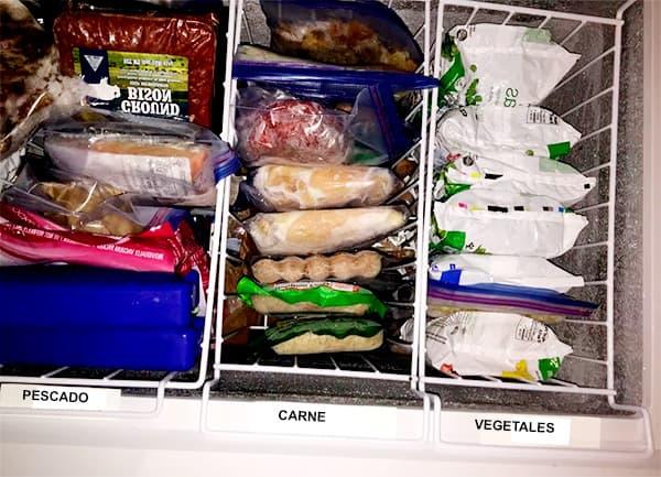 Crear categorías para organizar mejor los alimentos del congelador