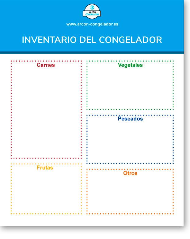 Inventario imprimible para tener controlados los alimentos del congelador