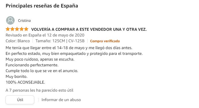 Ejemplo de opinión de usuario al comprar un congelador en Amazon